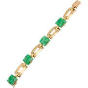 Vintage Jade bracelet Certified Natural Untreated Jadeite Jade 18 k Yellow gold Art Deco  bracelet circa 1930-1935