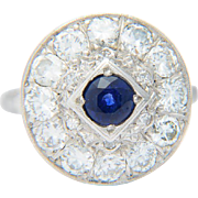 Diamond ring 1.80 carat w.t. diamond Ceylon sapphire ring 14 k white gold Art Deco diamond engagement ring/ diamond and sapphire anniversary ring/ right hand ring circa 1930-35