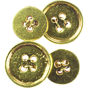 Vintage double-sided buttons cuff links 18 k yellow gold