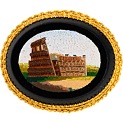 Antique Victorian micro mosaic brooch 18 k yellow gold frame