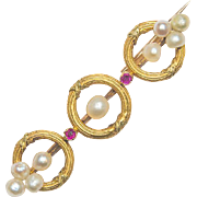 Antique Victorian bar brooch rubies pearls 18 k yellow gold circa 1880 s
