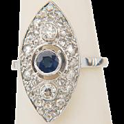 Vintage marquise-shape ring Art Deco diamond blue Ceylon sapphire ring 18 k white gold engagement ring/ anniversary ring/ right hand ring circa 1930-35