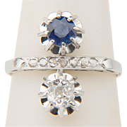 """Vintage ring Art Deco cross-over diamond and sapphire ring """"You and Me"""" engagement ring circa 1920-25 s"""