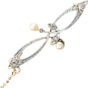 Antique Art Nouveau brooch rose-cut diamond pearl platinum 18 k yellow gold circa 1900