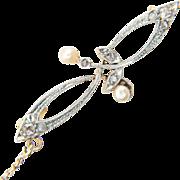 Antique Art Nouveau brooch rose-cut diamond pearl platinum 18 k yellow gold circa 1900