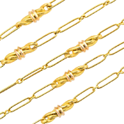 Antique Arts and Crafts long chain 62.6 inches 18 k yellow gold 61.5 gram
