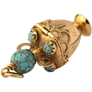 Vintage charm pendant turquoise 18 k yellow gold