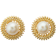 REDUCED Vintage pearl large stud earrings 18 k yellow gold