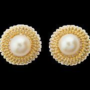 Vintage pearl large stud earrings 18 k yellow gold