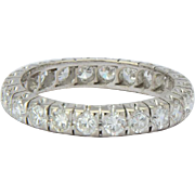 Vintage 1.50 CWT diamonds eternity band / wedding band US Size 7 18 k white gold