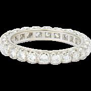 Vintage 1.20 ctw diamond eternity ring / wedding band  US Size 7 white gold 18 k