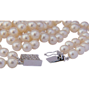 Pearls necklace diamond clasp circa 1960-70 s two strands cultured pearls 7.8 mm diameter