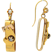 Victorian earrings diamond pearl long ribbon drop earrings 18 k gold circa 1860 s
