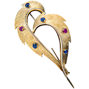 Vintage brooch ruby sapphire 18 k yellow gold circa 1960