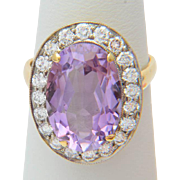 Diamond ring 1.00 carat TW diamonds 5.50 carat Amethyst Russian Soviet Vintage cluster ring 18 k gold