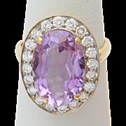 Diamond ring 1.00 carat TW diamonds 5.50 carat Amethyst Russian Soviet Vintage cluster ring 18 k gold