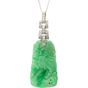 Jade and diamond pendant Art Deco platinum 950 and 14 k white gold circa 1920 s C.G.L Lab Report