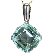 Art Deco Natural Aquamarine 49 carats French pendant Platinum and 18 k white gold