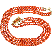 Antique Victorian natural untreated coral beads necklace with antique 18 k gold Etruscan Revival Style clasp
