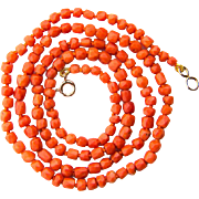 Antique coral necklace faceted natural untreated coral beads circa 1880