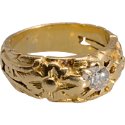 Antique diamond ring Art Nouveau circa 1900 18 k yellow gold unisex ring