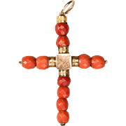 Antique Georgian coral cross pendant 18 k yellow gold
