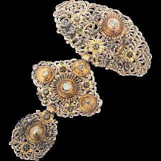 """Antique Georgian diamond cross pendant circa 1780 s 14 k reddish gold and silver also called """" Croix a la Janette"""""""