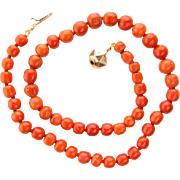 Antique Victorian reddish deep orange bright natural untreated coral necklace beads 11.4 mm - 8 mm diameter