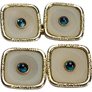 Art Deco Cufflinks doubble-sided Sapphires cabochon rock crystal 14 k yellow gold