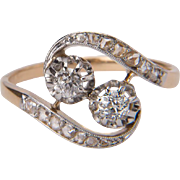 Antique ring Art Nouveau diamond ring 18 k yellow gold and Platinum cross over ring circa 1890-1900