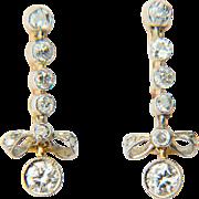 Long Diamond earrings 1 cwt diamonds long drop knot earrings 18 k yellow and white gold
