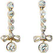 Vintage diamond earrings 1 carat wt diamonds long drop knot earrings 18 k yellow and white gold