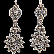 Late Georgian / Early Victorian rose-cut diamond silver drop earrings circa 1830 s