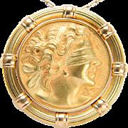 Vintage Blind man`s bluff brooch / pendant 18 k yellow gold
