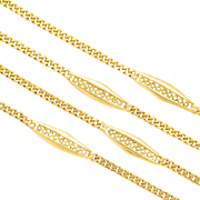 Antique Victorian decorative chain / necklace 18 k yellow gold 40 grams 32 inches