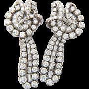 Vintage diamond earrings 7.30 tcw diamond day and night platinum clip pendant earrings