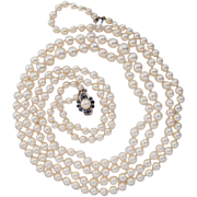 Vintage two strands Japanese Akoya cultured pearl necklace 18 k white gold pearl sapphire clasp