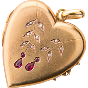 Antique French Victorian heart-shape locket pendant 18 k yellow gold pearl ruby circa 1900