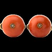 Antique Victorian large natural cabochon cufflinks 15.5 mm diameter