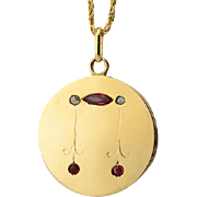 Vintage locket / pendant rose-cut diamonds lab-made rubies circa 1920-30 s 18 k yellow gold