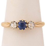 Antique ring Victorian three stones ring diamond and blue stone 18 k yellow gold ring circa 1890-1900