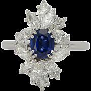 Vintage diamond and sapphire ring circa 1970 platinum 950 engagement ring / anniversary ring / right hand ring