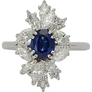 Vintage diamond and sapphire ring circa 1970 platinum 950 engagement ring / anniversary ring / right hand ring