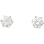 Diamond earrings 1.11 cwt Color E  Clarity IF-VVS  18 k white gold stud earrings I.G.L. Lab diamond reports