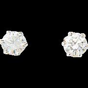 Stud diamond earrings 1.11 cwt E color 18 k white gold vintage stud earrings I.G.L. Lab diamond reports