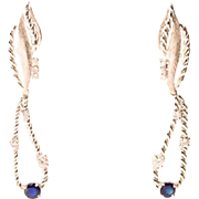 Diamond and sapphire earrings 18 k white gold extra-long drop earrings ( 2.55 inches) circa 1960-1970 s
