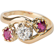 Antique ring Victorian / Art Nouveau diamond ruby ring 18 k yellow gold engagement ring / anniversary ring circa 1900