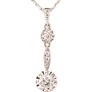 Diamond 0.65 cwt F-G color VS 1 clarity  pendant platinum over 18 k white gold and its 18 k white gold chain circa 1920-1925