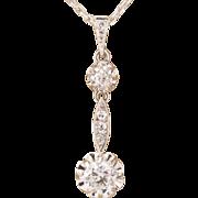 Art Deco diamond pendant platinum over 18 k white gold and its 18 k white gold chain circa 1920-1925
