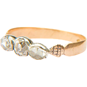 Antique diamond ring Georgian three stones diamond ring / halve band 18 k yellow gold and silver
